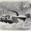 Snow plough locomotive — Stock Photo