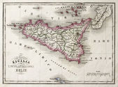 Sicily an other Islands old map — Stock Photo