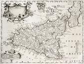Vecchia mappa sicilia con dettaglio di siracusa — Foto Stock