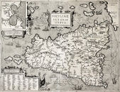 Sicily old map with Syracuse detail — Foto Stock