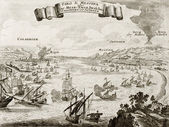 Strait of Messina, Italy, antique illustration — Stock Photo