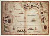 диаграмма портолан атлантического океана — Стоковое фото