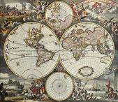 World hemispheres old map — Stock Photo