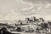 View of Erice, on the top of Mount San Giuliano Created by Desprez and De Ghendt, published on Voyage Pittoresque de Naples et de Sicilie, by J. C. R. de Saint Non, Imprimerie de Clousier, Paris, 1786 — Stock Photo