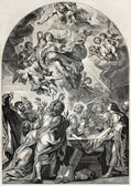 Old engraved reproduction of the Assumption of Mary, by Rubens. Engraved by Jourdain, published on L'Illustration, Journal Universel, Paris, 1857 — Stock Photo