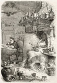 Alchemist laboratory old illustration. By unidentified author, published on L'Illustration, Journal Universel, Paris, 1858 — Stock Photo