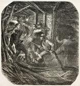 Miners brawl — Stock Photo
