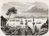 Sultan departure from Constantinople towards Egypt. Created by Forest, published on L'Illustration, Journal Universel, Paris, 1863 — Stock Photo