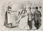 Antique illustration of a waitress attending to customers in a bar — Stock Photo