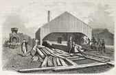 Railway sleepers preparing — Stock Photo
