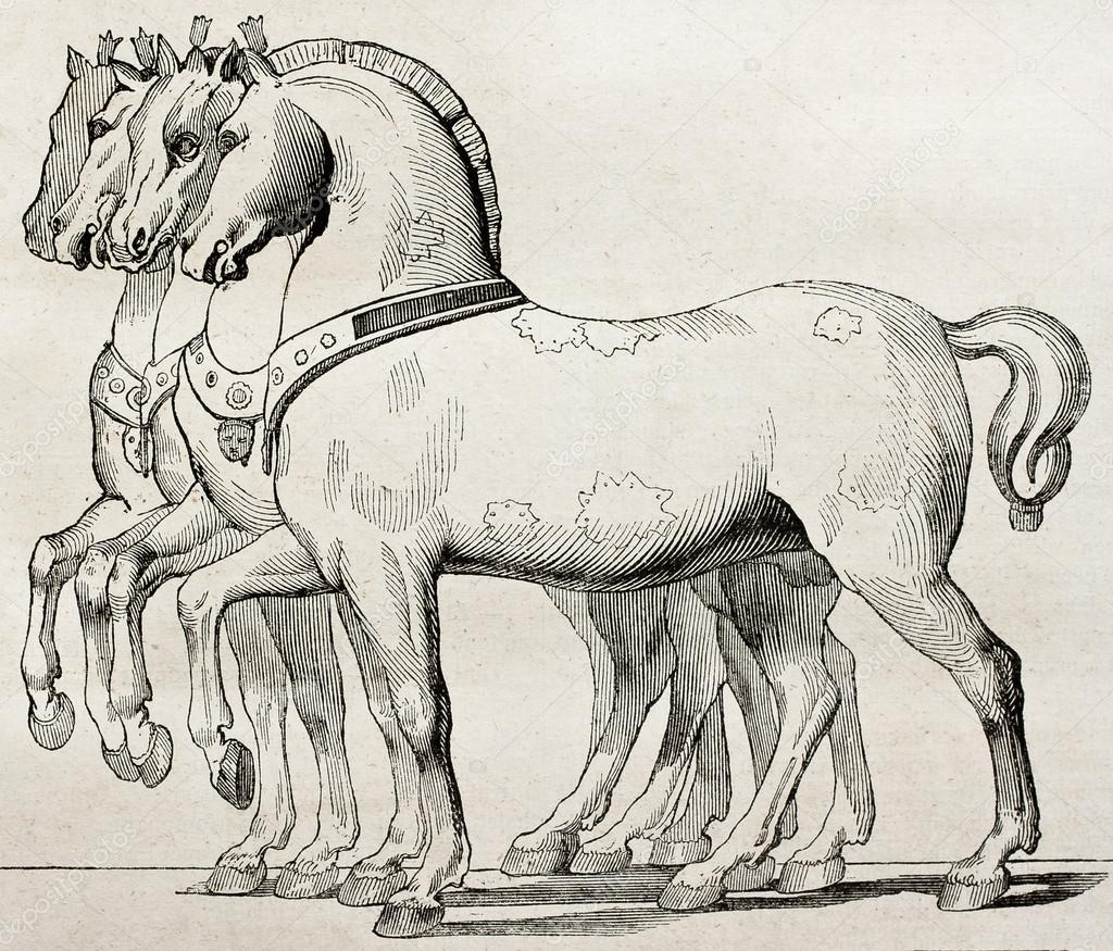 St. Mark Basilica horses old illustration, Venice. By unidentified author, published on Magasin Pittoresque, Paris, 1840  Stock Photo #13299979