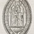 Old reproduction of Bec-Hellouuin abbey seal.  — Stock Photo