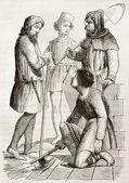Medieval costumes quarter — Stock Photo