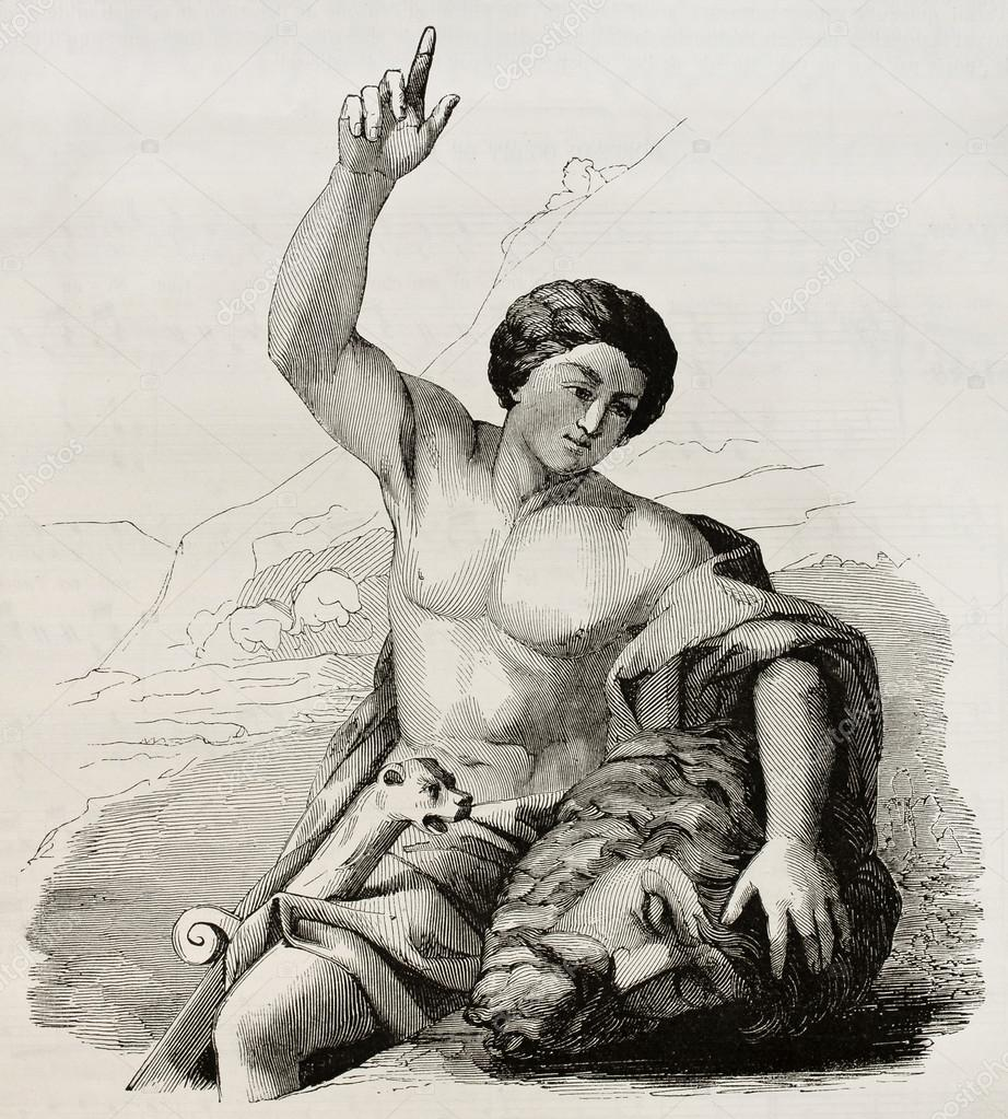 David with the head of Goliath. After painting by Carrache kept in Marseilles museum, published on Magasin Pittoresque, Paris, 1845 — Stock Photo #13304425