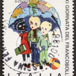 Schoolboys postage stamp — Stock Photo
