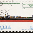 Container ship postage stamp — Stock Photo