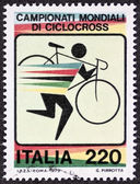 Cyclo-cross postage stamp — Stock Photo