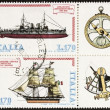 Ships postage stamp block bis — Stock Photo
