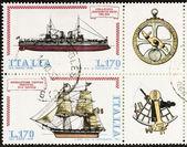 Ships postage stamp block bis — Stock Photo