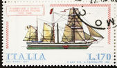 Paddlesteamer postage stamp — Stock Photo