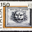 Old postbox postage stamp — Stockfoto