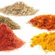 Piles of different spices - Stock Photo