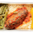 Stock Photo: Meat and rice - inflight meal