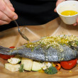 Chef is cooking dorade — Foto de Stock