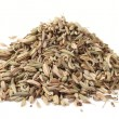 Heap of fennel seeds, macro shot, isolated - Stock Photo