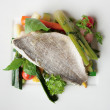 Boiled seabass with steamed vegetables — Stock Photo