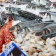 Stock Photo: Great variety of fish on market display