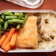 Fish and rice - inflight meal - Stock Photo