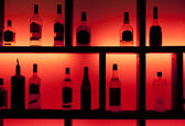 Back lit bottles in a cocktail bar — Stock Photo