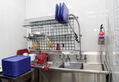 Dish washing room in a restaurant — Stock Photo