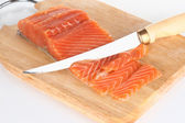 Slicing fish fillet — Stockfoto