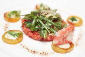 Elegant salmon tartare — Stock Photo