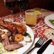 Grilled pork ribs, beef and shrimps, close-up — Stok fotoğraf