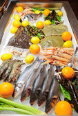 Great variety of fish and seafood — Stock Photo