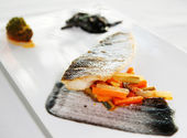 Seabass cooked in a modern way — Stock Photo