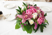 Boquet of orchid flowers and tulips — Stock Photo