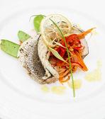 Seabass haute cuisine dish — Stock Photo