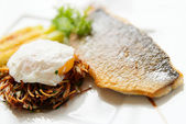 Seabass with pasta and poached egg — Stock Photo