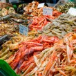 Great quantity of fresh seafood — Stock Photo