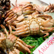 Live crabs on market stall - Stock Photo