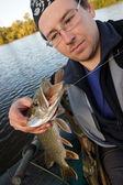 Fisherman holding northern pike — Stock Photo