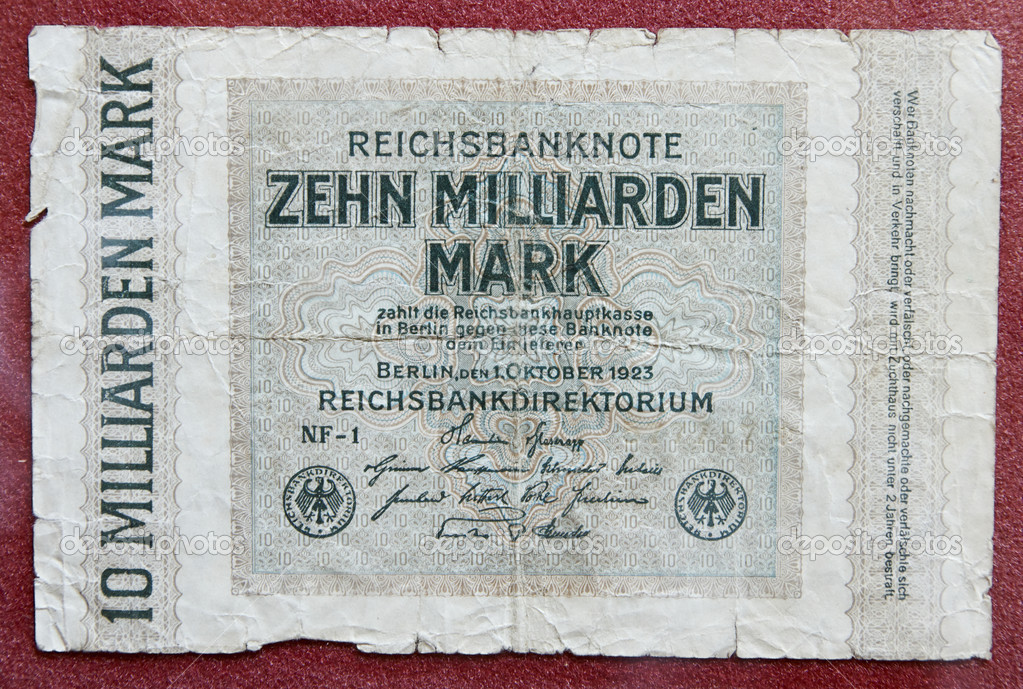 Hyper inflation german money - 10 billion marks!  Lizenzfreies Foto #13178013