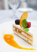 Cassata dessert on restaurant table — Stock Photo