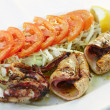 Grilled squid with vegetables - Stock Photo