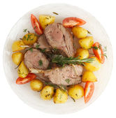 Rack of lamb with fried potatoes isolated on white — Zdjęcie stockowe