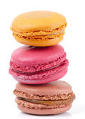 Three colorful macarons isolated on white background — Stock Photo